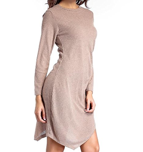 Crewneck Sleeve Long Dress Comfy Womens Khaki Irregular Solid Vogue qz5qtwH