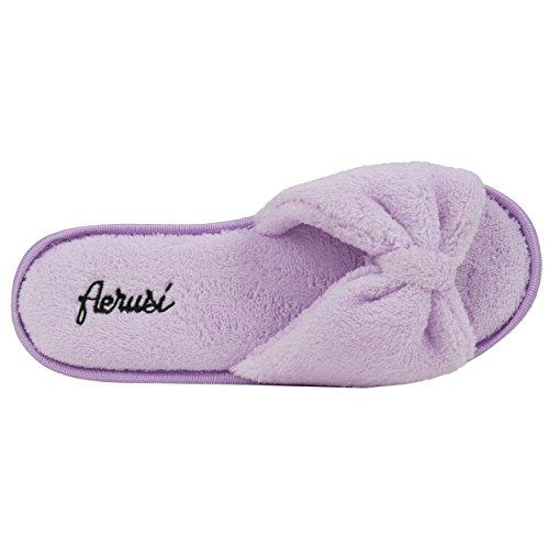 aerusi Mujer Cozy Slide dormitorio de felpa suave Zapatillas Morado - morado