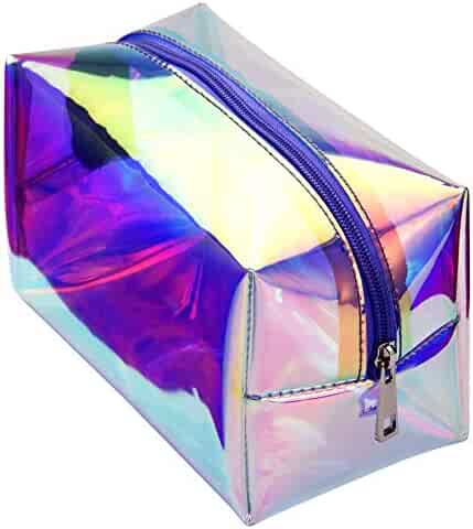 Cambond Holographic Makeup Bag Clear Cosmetic Bag Organizer Large Capacity Iridescent Makeup Pouch Clear Toiletry Pouch Hologram Clutch Cosmetic Pouch for Women (Holographic Purple)