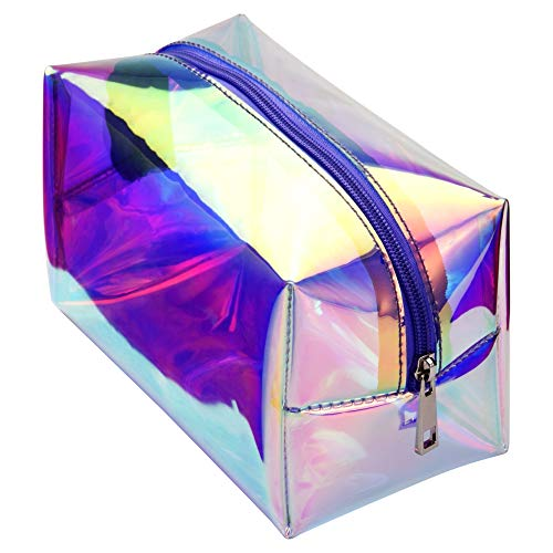 (Cambond Holographic Makeup Bag Clear Cosmetic Bag Organizer Large Capacity Iridescent Makeup Pouch Clear Toiletry Pouch Hologram Clutch Cosmetic Pouch for Women)