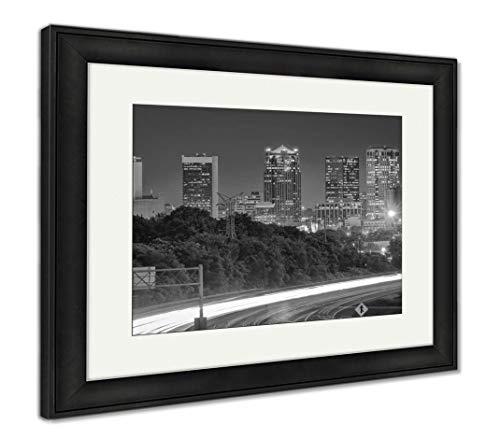 (Ashley Framed Prints Birmingham, Alabama, USA Highway and Skyline at Dusk, Wall Art Home Decoration, Black/White, 30x35 (Frame Size), Black Frame, AG32675600)