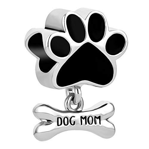 Roy Lopez Pet Dog Paw Charm Bead for Bracelet (Black)