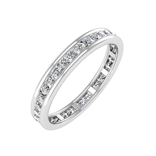 14k White Gold Channel Set Diamond Eternity Wedding/anniversary Band Ring (0.45 Carat) ()