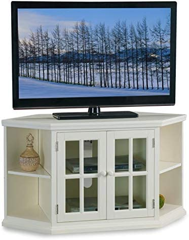 BOWERY HILL 46 Corner Entertainment TV Stand with Bookcase Ends and Cord Management in White