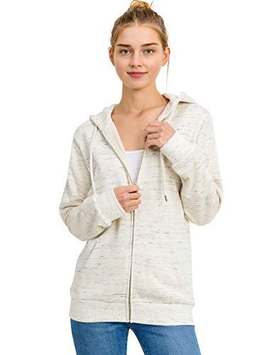 esstive Women's Basic Oversized Fleece Full-Zip Hooded Jacket, Marled Oatmeal, Medium