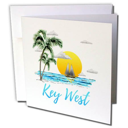 3dRose Macdonald Creative Studios - Florida - Nautical Sailing for Key West, Florida with Palm Trees and Sunset - 12 Greeting Cards with envelopes (gc_281506_2)