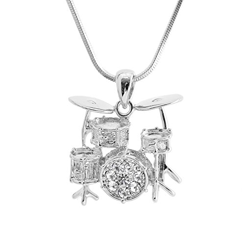 Spinningdaisy Crystal Miniature Drum Set Necklace (Silver)
