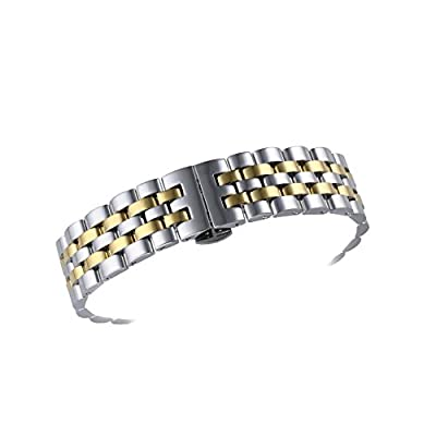 18mm Meticulously Crafted Metal Replacement Watch Bands Solid Stainless Steel Two Tone Silver and Gold from AUTULET