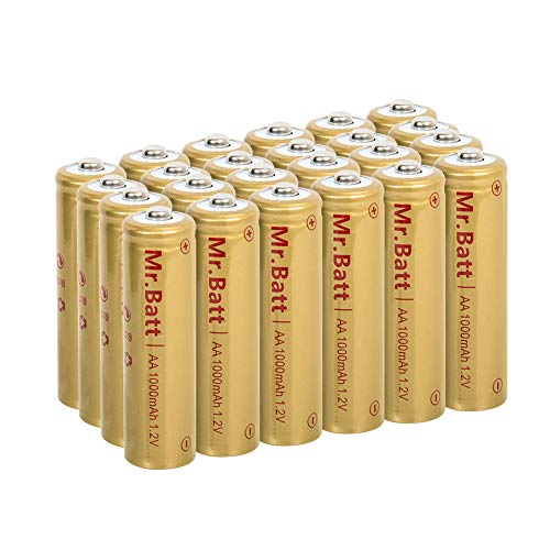 Mr.Batt NiCd AA Rechargeable Batteries for Solar Lights, 1000mAh 1.2V (24 Pack)