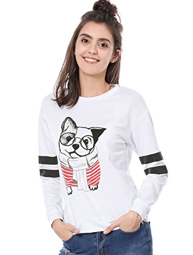 Allegra K Women's Crew Neck Stripes Long Sleeves Dog Print Sweatshirt L (Cartoon Dog)