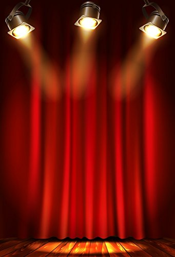 AOFOTO 6x8ft Stage Curtain Backdrop Spotlight Photography Background Party Decoration Activity Arrangement Event Performance Celebration Ceremony Kid Child Portrait Photo Studio Props Vinyl Wallpaper