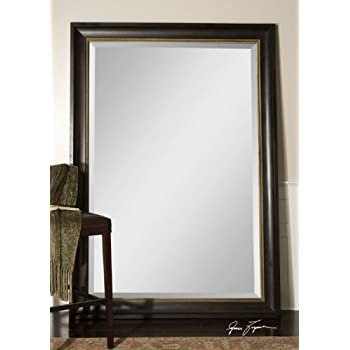 extra large 82 wall mirror dark wood xl full length floor leaner home kitchen. Black Bedroom Furniture Sets. Home Design Ideas