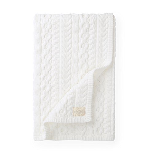 Hope & Henry Layette White Cable Baby Blanket Made with Organic Cotton - Organic Cotton Cable Sweater