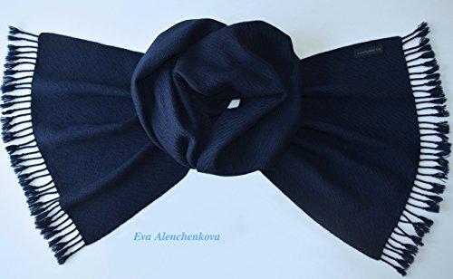 Cashmere Blue Men's Hand Woven Scarf by Eva Alenchenkova