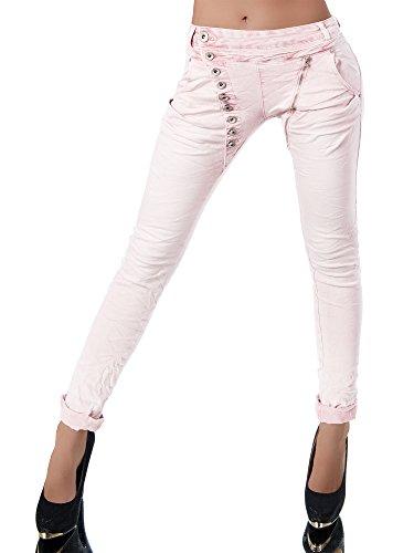 Diva-Jeans - Jeans - Boyfriend - Uni - Femme Rose