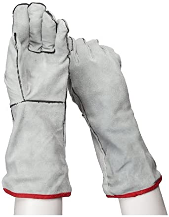 "IRONCAT 930 Cowhide Leather Welder Glove, Gauntlet Cuff, 14"" Length, Large (Pack of 12 Pairs)"