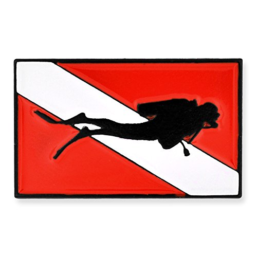 PinMart Scuba Diver Red and White Diving Flag Enamel Lapel - Diving Jewelry