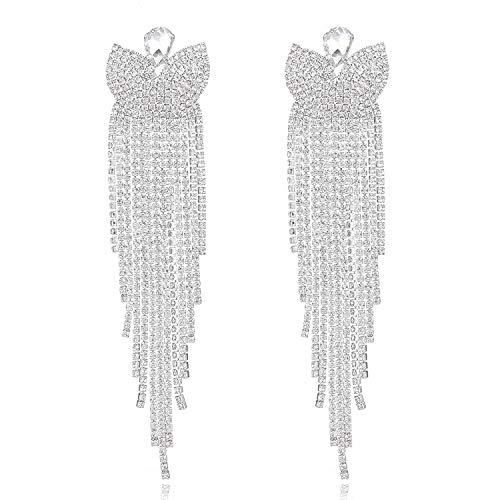 Women Elegant Long Clear Crystal Wedding Bridal Tassel Earrings Rhinestone Dangle ()
