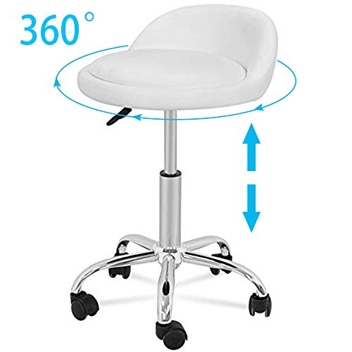 HomGarden Adjustable Height Hydraulic Rolling Swivel Stool for Massage Salon Office Facial Spa Medical Tattoo Chair Stool w/Backrest Cushion & Wheels