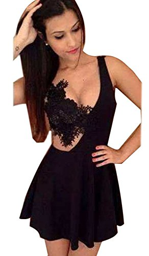 Mine tom Mujer Dama Mini Vestido Verano Correa De Ganchillo Del Cordón Cocktail Vestir Negro