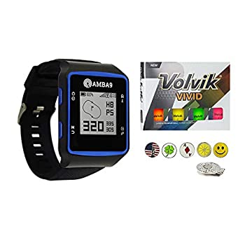 Image of Golf Course GPS Units Amba9 GPS Golf Watch Bundle with 1 Dozen Volvik Golf Balls, 5 Ball Markers and 1 Magnetic Hat Clip - Rangefinder with Preloaded Courses, Step Tracking, Distance to Hole Measurements, and Par Info