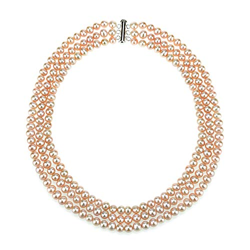 (La Regis Jewelry .925 Sterling Silver 6.5-7mm Pink Freshwater Cultured Pearl 3-Row Necklace, 18