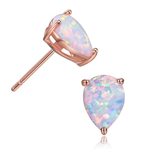 - GEMSME Rose Gold Filled 6x8mm Pear Shap Opal Stud Earrings