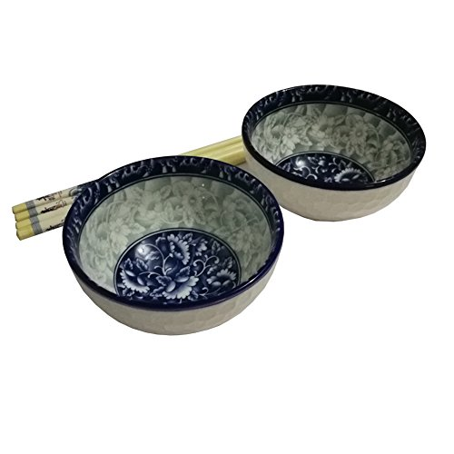 Finecasa 4.5 inch underglaze color Chinese Fine Porcelain Soup/Rice Bowls Blue Dream-B Series Set of 2 in a Gift Box Bone Display Box
