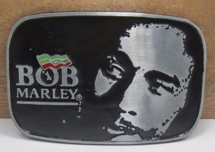 Bullzine Bob Marley Belt Buckle with Color Enamel with pewter finish for 1 1/2