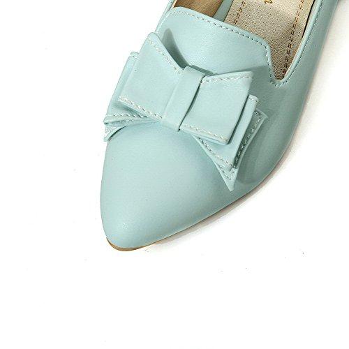 AgooLar Damen Mittler Absatz PU Spitz Schließen Zehe Pumps Schuhe Blau