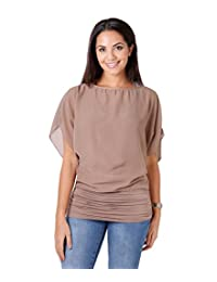 KRISP Womens Casual Loose Solid Chiffon Dolman Side Shirring Top Blouse Plus Size