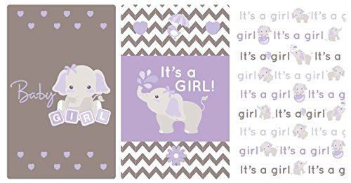 Purple & Gray Elephant Set of 54 Stickers Baby Shower Favors Miniatures Candy Bar