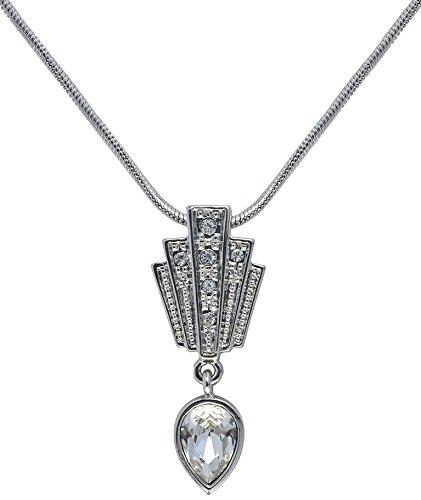 Cristalina Gatsby Art Deco Fan Drop Swarovski Crystal Pendant and Chain of Length 46-51cm CWTbKdNm4