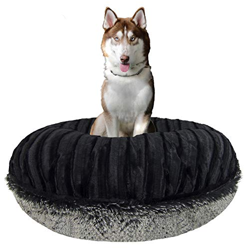 BESSIE AND BARNIE Signature Black Puma/Midnight Frost Luxury Shag Extra Plush Faux Fur Bagel Pet/Dog Bed (Multiple Sizes…