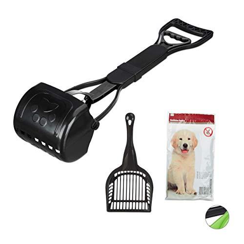 Relaxdays Dog Pooper Scooper, 40 Waste Bags, Easy & Hygienic, Poop Pick-Up, 60 cm Long, Black