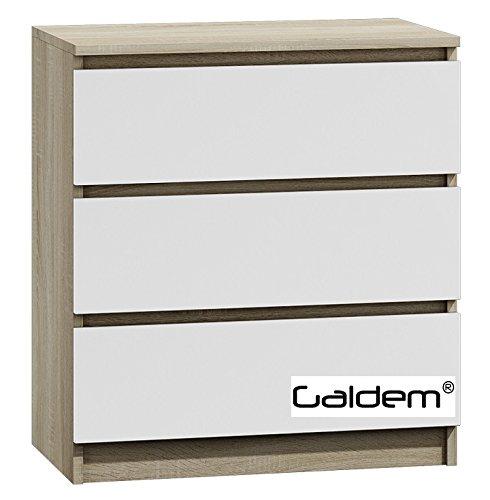 Kommode mit 3 Schubladen Sideboard Mehrzweckschrank Anrichte Diele Flur Esszimmer Wohnzimmer (Sonoma-Weiss)