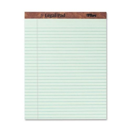 TOPS The Legal Pad Legal Pad, 8-1/2 x 11-3/4 Inches, Perforated, Greentint, Legal/Wide Rule, 50 Sheets per Pad, 12 Pads per Pack (7534)