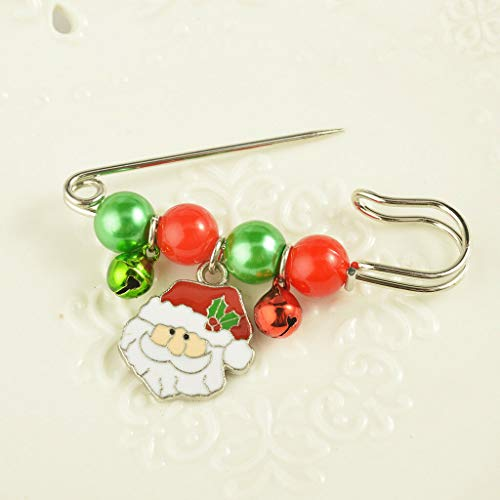 Unisex Christmas Xmas Safety Pin Brooch Corsage Breastpin Party Jewelry Gifts | Pattern - Santa Claus