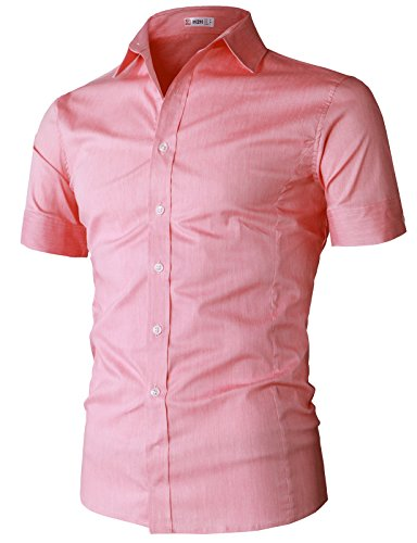 H2H Mens Summer Vacation Essential Shirt Salmon US XL/Asia 2XL (KMTSTS0133) (Slim Tall Clothing)