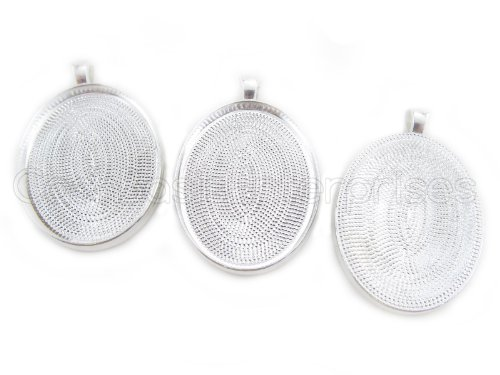 50 CleverDelights Oval Pendant Trays - Shiny Silver Color - 30 x 40 mm - Pendant Blanks Cameo Bezel Cabochon Settings - 30x40mm (Pendant 30x40mm Oval)