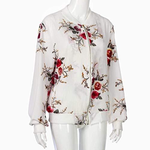 Ragazze Donna Primaverile Jacket Elegante Bianco Giacche Outerwear Tempo Camicetta Lunghe Sciolto Zip Festa Estivi Giubbino Bianca Style Autunno Leggero Maniche Libero Fiore Modello Moda BFxqxwSd