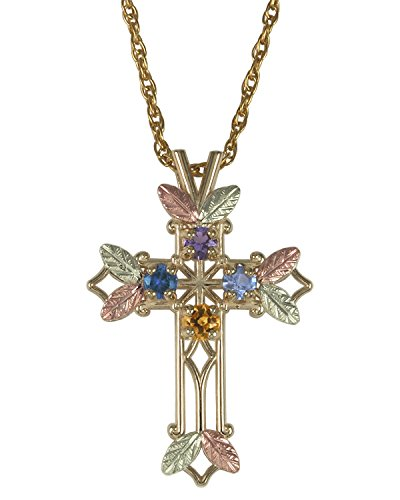 Mothers Black Hills Gold Family Cross Necklace in 10K Gold - Customize from 1 to 7 Birthstones