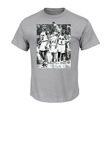 NBA Orlando Magic 1989-2001 Men's Majestic Athletics Back and Forward Team Short Sleeve Crew Neck T-Shirt, X-Large, Steel - Crew Majestic T-shirt