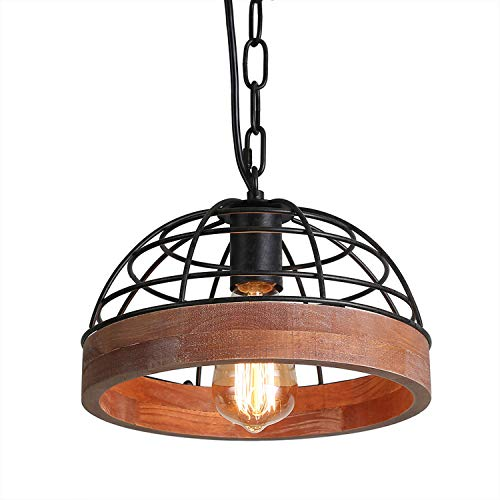 Anmytek Adjustable Wood Metal Chandelier Iron Net Frame Cover Pendant Lighting for Kitchen Island Rustic Industrial Edison Hanging Light Dining Room Vintage Ceiling Light Fixture 1-Light (P0027)