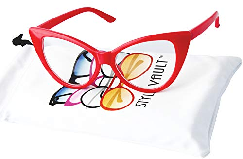 KD3137 Cat eye Baby infant toddlers Age 0-36 months Girls clear lens Glasses kids Sunglasses (Red-clear lens, smoked)