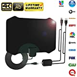 【Newest 2019】 HD Digital Amplified TV Antenna Professional Carbon Fibre 120+Miles with Amplifier Signal Booster for 1080P 4K Free TV Channels,Indoor HD Antenna Freeview Life Local Channels All Type