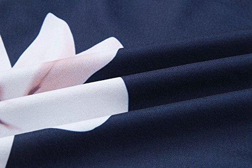 Profonde d't Robe en bleu Vintage Imprim Robe Fonc R Fleurs Bretelle ASSKDAN Robe V Princesse Femme Soleil Col Vacences RYqSZCfw