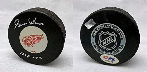 Autographed Puck Gordie Howe - Autographed Gordie Howe Hockey Puck - Logo + HOF 72 ITP - PSA/DNA Certified - Autographed NHL Pucks