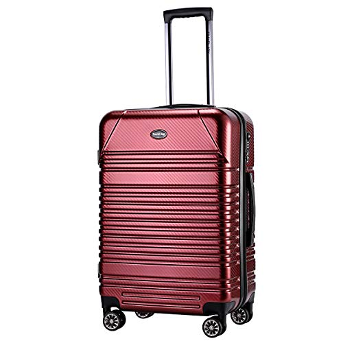 Expandable Carry on Luggage Premium Carbon Fiber Suitcase TSA Lightweight Spinner Carry On Luggage 20inches - Carry Burgundy On Luggage