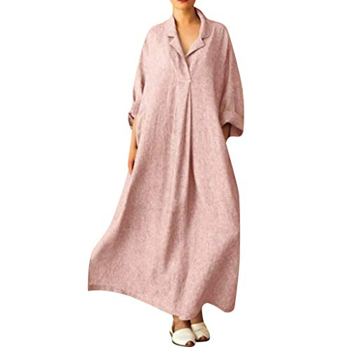 (LISTHA V Neck Cotton Linen Maxi Dress Women Plus Size Cross Shirts Long Dress Pink)